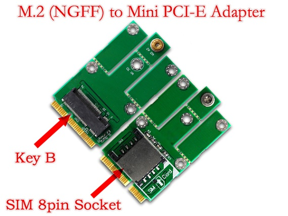 M 2 Ngff 2g 3g Module To Mini Pci E Adapter For Cdma Gps